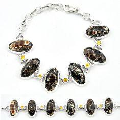 Natural brown turritella fossil snail agate 925 silver tennis bracelet j52303