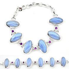 Natural blue lace agate amethyst 925 sterling silver tennis bracelet j52306