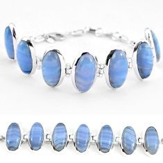 Natural blue lace agate 925 sterling silver tennis bracelet jewelry j52307