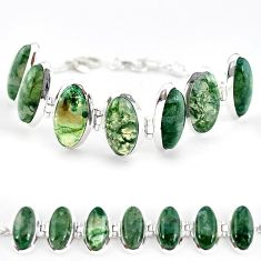 Natural green moss agate 925 sterling silver tennis bracelet jewelry j52308