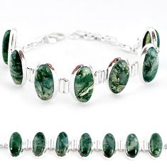 Natural green moss agate 925 sterling silver tennis bracelet jewelry j52309