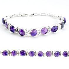 Natural multi color fluorite 925 sterling silver tennis bracelet jewelry j52337