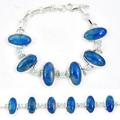 Natural blue shattuckite topaz 925 sterling silver tennis bracelet j52390