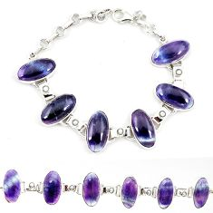 Natural multi color fluorite pearl 925 sterling silver tennis bracelet j52391