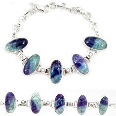 Natural multi color fluorite pearl 925 sterling silver tennis bracelet j52392
