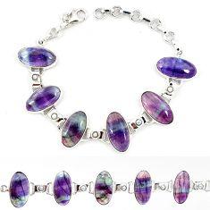 Natural multi color fluorite pearl 925 sterling silver tennis bracelet j52393