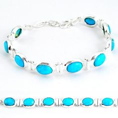 Natural blue magnesite 925 sterling silver tennis bracelet jewelry j52405