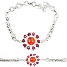 Authentic orange amber garnet 925 sterling silver bracelet jewelry j8716