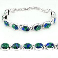 925 sterling silver natural green malachite in azurite bracelet jewelry k14450