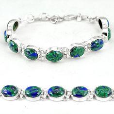 Natural green malachite in azurite 925 sterling silver bracelet jewelry k14454