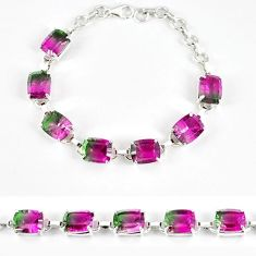 Watermelon tourmaline (lab) 925 sterling silver bracelet jewelry k17174