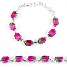 Watermelon tourmaline (lab) 925 sterling silver bracelet jewelry k17175