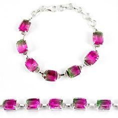 Watermelon tourmaline (lab) 925 sterling silver bracelet jewelry k17179