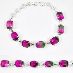 Watermelon tourmaline (lab) 925 sterling silver bracelet jewelry k18417