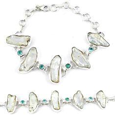 52.58cts natural white biwa pearl topaz 925 sterling silver bracelet k21141