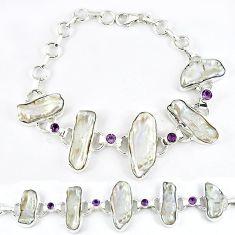 51.17cts natural white biwa pearl amethyst 925 sterling silver bracelet k21142