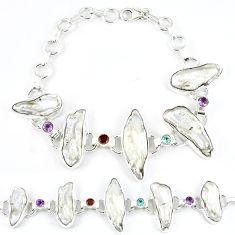 51.68cts natural white biwa pearl amethyst 925 sterling silver bracelet k21143
