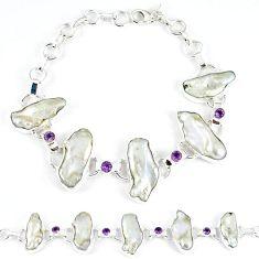 Natural white biwa pearl amethyst 925 sterling silver bracelet k21199