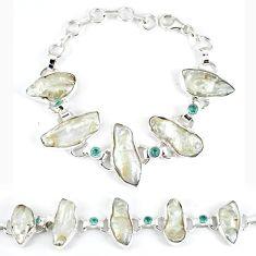 Natural white biwa pearl topaz 925 sterling silver bracelet k21200