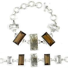 Natural grey meteorite brown smoky topaz white topaz 925 silver bracelet k27373