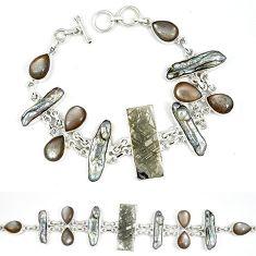 Natural grey meteorite rainbow moonstone biwa pearl 925 silver bracelet k27374