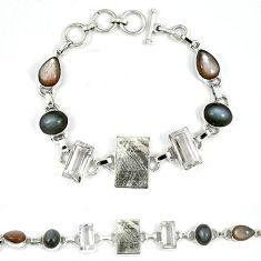 925 silver natural grey meteorite moonstone white topaz bracelet k27375
