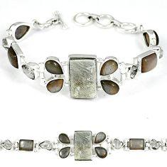 925 silver grey meteorite white herkimer diamond moonstone bracelet k27376