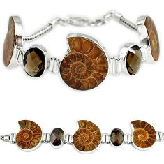 Natural brown ammonite fossil fancy smoky topaz 925 silver bracelet k27441