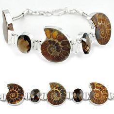 925 silver natural brown ammonite fossil fancy smoky topaz bracelet k27443