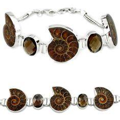Natural brown ammonite fossil smoky topaz 925 sterling silver bracelet k27444
