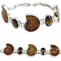 925 sterling silver natural brown ammonite fossil smoky topaz bracelet k27445