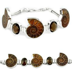 Natural brown ammonite fossil smoky topaz 925 silver bracelet jewelry k27446