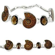 Natural brown ammonite fossil fancy smoky topaz 925 silver bracelet k27447