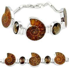 925 silver natural brown ammonite fossil smoky topaz bracelet jewelry k27448