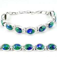 Natural green malachite in azurite 925 sterling silver tennis bracelet k27541