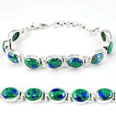 Green malachite in azurite oval 925 sterling silver tennis bracelet k27542