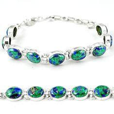 925 sterling silver natural green malachite in azurite tennis bracelet k27543