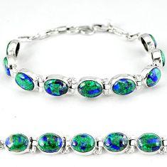 Green malachite in azurite oval 925 sterling silver tennis bracelet k27544
