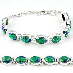 925 sterling silver natural green malachite in azurite tennis bracelet k27545