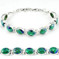 Natural green malachite in azurite 925 sterling silver tennis bracelet k27547