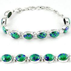 Natural green malachite in azurite 925 sterling silver tennis bracelet k27548