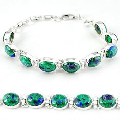 Natural green malachite in azurite oval 925 silver tennis bracelet k27549