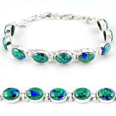 925 sterling silver natural green malachite in azurite tennis bracelet k27550