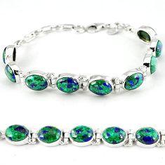 Natural green malachite in azurite oval 925 silver tennis bracelet k27551