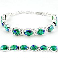 925 sterling silver natural green malachite in azurite tennis bracelet k27552