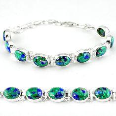 Natural green malachite in azurite 925 sterling silver tennis bracelet k27553