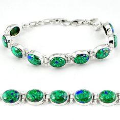 925 sterling silver natural green malachite in azurite tennis bracelet k27555