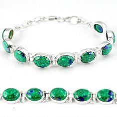 Natural green malachite in azurite 925 sterling silver tennis bracelet k27556