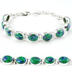 Green malachite in azurite oval 925 sterling silver tennis bracelet k27557