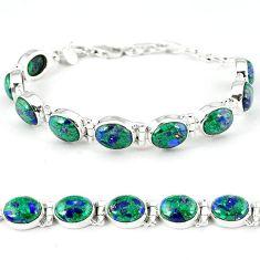 925 sterling silver natural green malachite in azurite tennis bracelet k27558